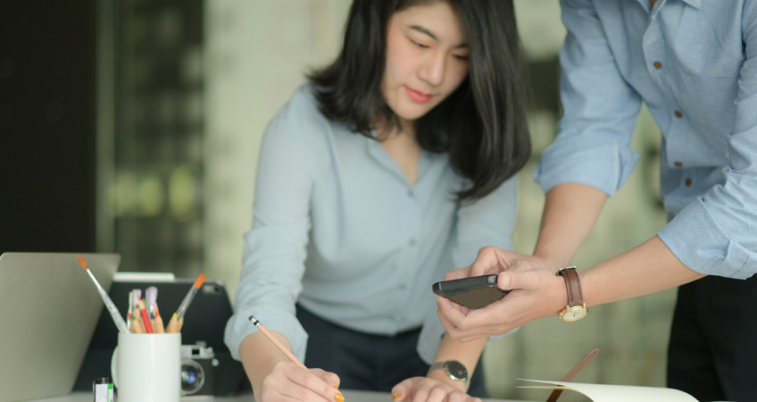 professional are working with smartphone